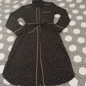 Who What Wear Black Dotted Print Midi Shirt Dress